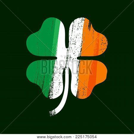 Shamrock clover icon. Irish flag texture. Symbol of luck. Vector illustration.