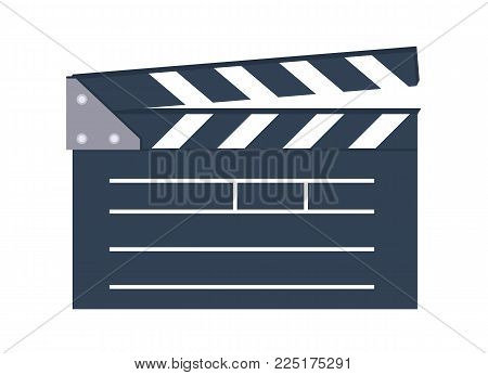icon for the film industry, magazines and websites about cinema. Movie clapper on a white . Characters movie.Vector illustration.The isolated image on a white background.