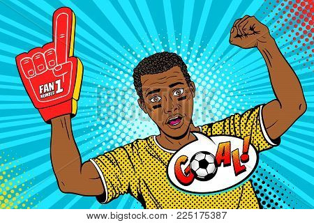 Wow pop art face. Young happy afro football fan with open mouth rising his hand celebrates win and Goal speech bubble. Vector colorful illustration in retro comic style. Sport game invitation poster.