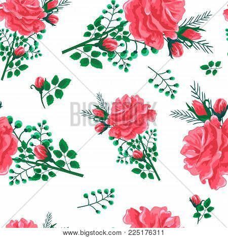 Beautiful seamless pattern with pink, red roses on a white background. Summer Vector illustration in the style of shabby chic.Print for book covers, textile, fabric, wrapping gift paper
