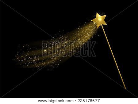 Vector illustration of magic wand. Isolated on black background.