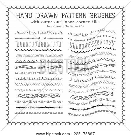 Hand drawn decorative scribble paintbrushes with inner and outer corner tiles. Dividers, borders, ornaments. Ink illustration
