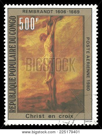 Congo - circa 1980: Stamp printed by Congo, Color edition on Art, shows Painting Crucifixion by Rembrandt, circa 1980