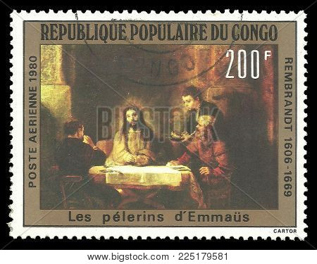 Congo - circa 1980: Stamp printed by Congo, Color edition on Art, shows Painting Christ at Emmaus by Rembrandt, circa 1980