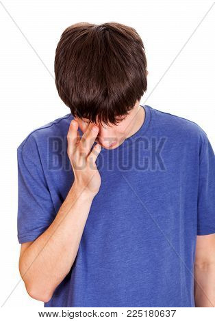 Sad Young Man Isolated on the White Background