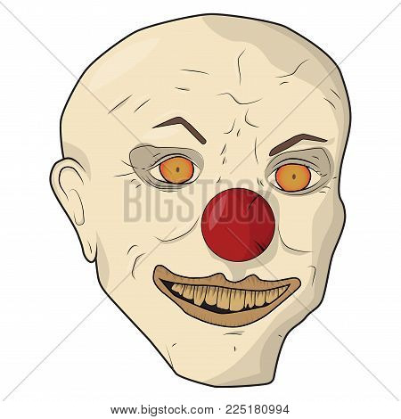 Head scary clown. Vector illustration. The bald man smiles yellow teeth