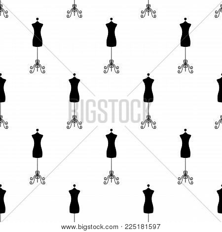 Tailor mannequin. Seamless pattern. Vector illustration on a white background. Swatch inside. Flat design style.