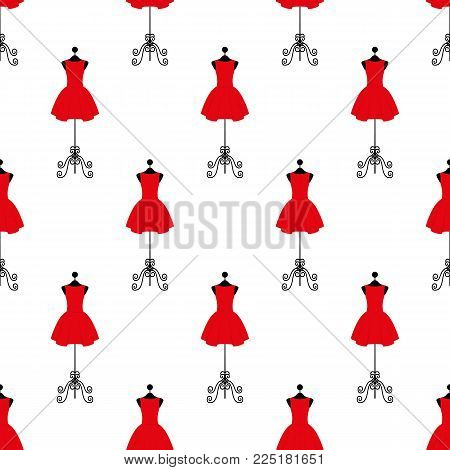 Tailor mannequin in red dress. Seamless pattern. Vector illustration on a white background. Swatch inside. Flat design style.