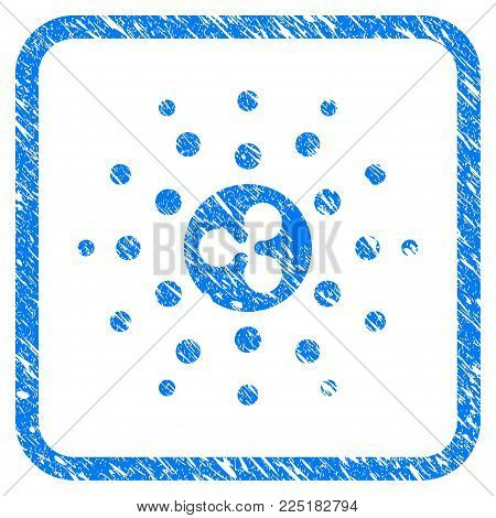 Ripple Emission Rays rubber seal stamp imitation. Icon vector symbol with grunge design and unclean texture inside rounded frame. Scratched blue sticker on a white background.