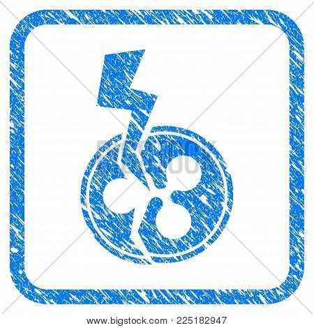 Ripple Crash Lightning rubber seal stamp watermark. Icon vector symbol with grunge design and corrosion texture inside rounded rectangle. Scratched blue sign on a white background.
