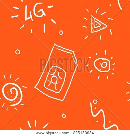 4g sim card. Vector 4g SIM Cards Seamless Pattern on red Background. 4g, Be online - color doodle seamless pattern. Styling hand drawing