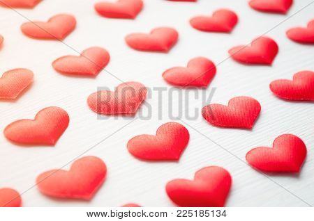 St Valentines Day Background. Red Hearts On The White Wooden Background, Shallow Dof, Valentines Day