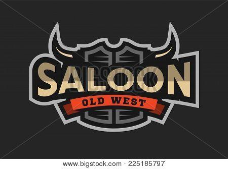 Saloon, tavern, wild west logo, emblem on a dark background