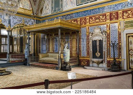 ISTAMBUL, TURKEY - SEPTEMBER 11, 2017: This is the hall in the Harem of the Topkapi Palace, in which the sultans were entertained with their harem (Hunkar Sofasy).