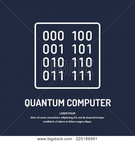 Calculation quantum computer. Analysis and data transfer. Vector illustration