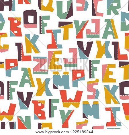 Hand lubberly cut vector colorful applique alphabet seamless pattern. Good for school projects, posters, textiles.