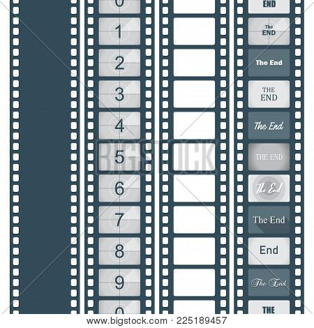Timer countdown cinema isolated from the background, set of options, The end. Vector illustration