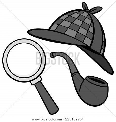 Detective Hat, Pipe and Magnifying Glass Illustration - A vector cartoon illustration of a Detective Hat, Pipe and a Magnifying Glass.