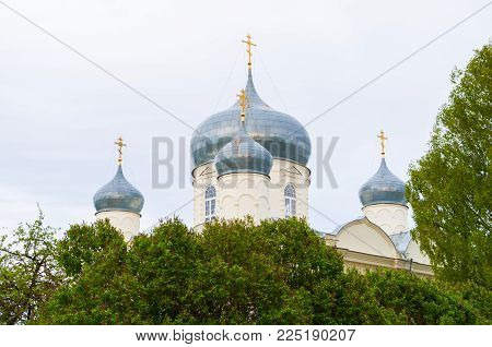 Veliky Novgorod, Russia. Intercession Cathedral In Zverin Intercession Monastery In Veliky Novgorod,