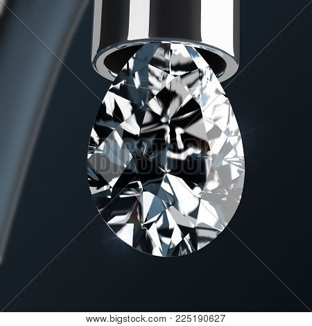 3d drop of pear-shaped diamond dripping from a faucet. 3d image.