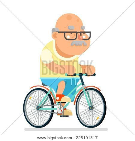 Fitness cycling Grandfather Adult Healthy Activitie Ride Bicycle Old Age Man Cartoon Character Flat Design Vector illustration