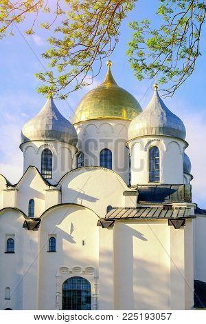 Veliky Novgorod, Russia, architecture landscape. Closeup of St Sophia Cathedral domes in Veliky Novgorod, Russia. Architecture view of Veliky Novgorod Russia landmark