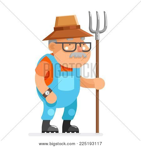 Farmer grandfather adult rancher old age man peasant character cartoon villager flat isolated design vector illustration