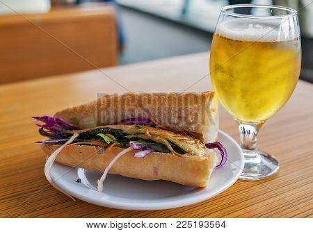 Set Fish Sandwich Street Food And Glass Of Beer