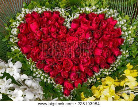 Shape Heart Red Roses Flower Background Gift