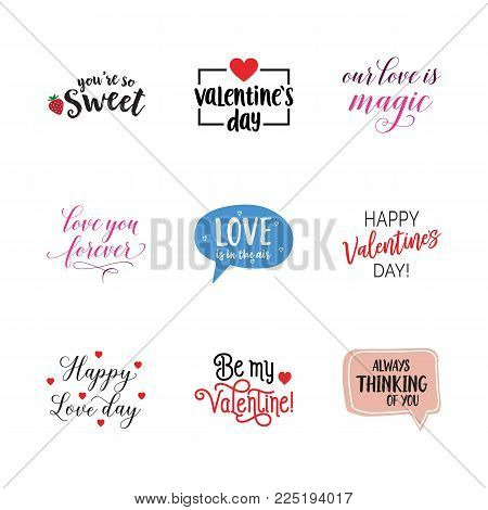 Happy love day lettering set. Valentines day, confession, passion, romance. Calligraphy, handwritten text can be used for greeting cards, posters, banners, festive designs, leaflets