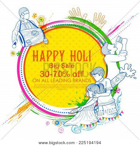 illustration of colorful Happy Holi Advertisement Promotional background for Festival of Colors celebration greetings