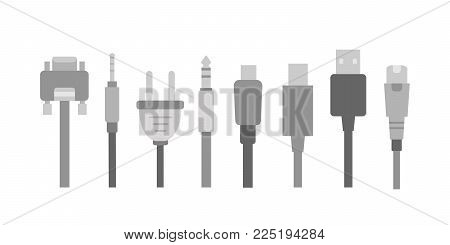 Vector set of Cable wire computer and electricity plug collection