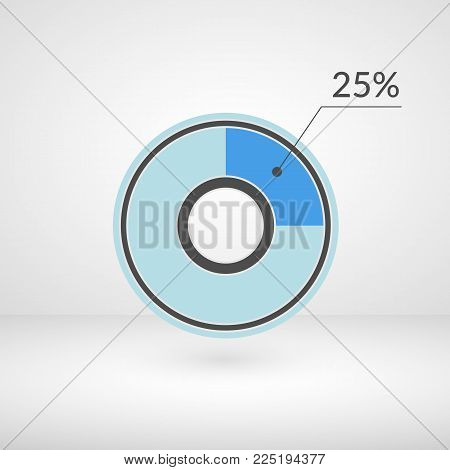 25 percent pie chart isolated symbol. Percentage vector infographics. Circle diagram sign. Business illustration icon for marketing project, finance, financial report, web, concept design, download