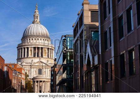 London cityscape with  St Paul's Cathedral, one of the most famous and most recognisable sights of London