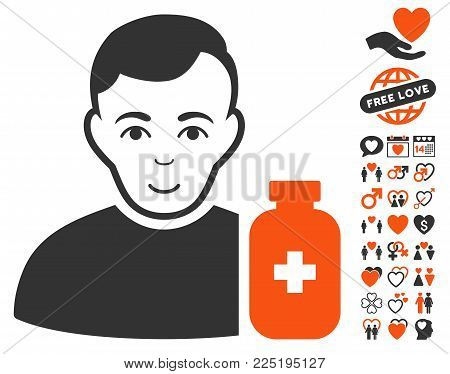 Medical Pharmacist pictograph with bonus valentine pictograph collection. Vector illustration style is flat iconic symbols.