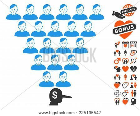 Ponzi Pyramid Manager pictograph with bonus passion design elements. Vector illustration style is flat iconic symbols.