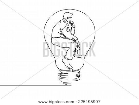 Continuous one drawn line silhouette of a businessman sitting in a pose of a thinker in a light bulb. Allegory of solution and creative search. Electric lamp.Thinking manager sitting in the light bulb. Business concept vector illustration.