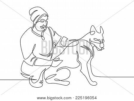 Continuous one drawn line of a veterinarian doctor conducting an inspection of an animal dog. The logo of the veterinary clinic is a symbol of animal care.