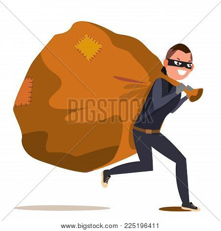 Bandit With Bag Vector. Isolated Flat Character Illustration