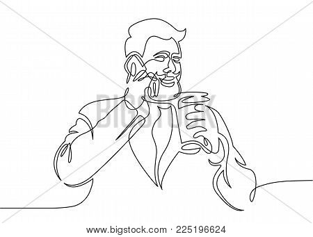 Drawing a continuous one line man talking on the phone drinking coffee. Hipster with a mustache and beard with a drink and a smartphone.