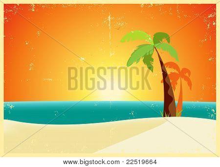 Grunge Tropical Beach Poster