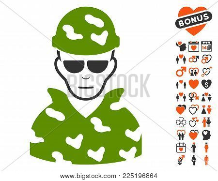 Soldier icon with bonus marriage pictograms. Vector illustration style is flat iconic symbols.
