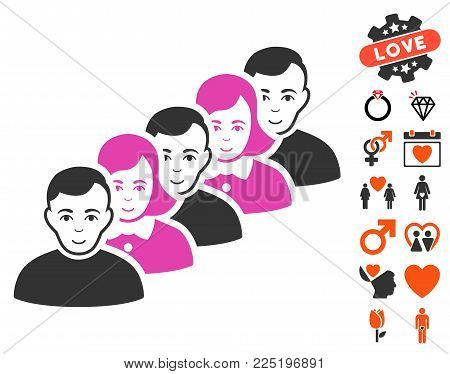 People Queue icon with bonus amour design elements. Vector illustration style is flat iconic symbols.