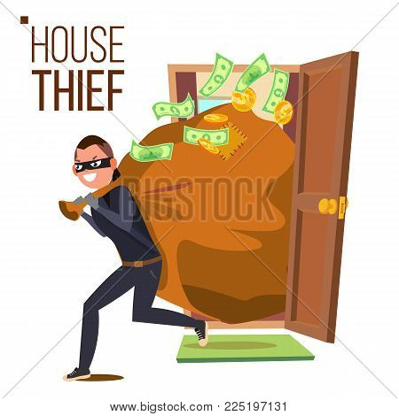 Thief And Door Vector. Bandit With Bag. Breaking Into House Through Door. Insurance Concept. Burglar, Robber In Mask, Thief, Robbery, Purse. Isolated Cartoon Illustration