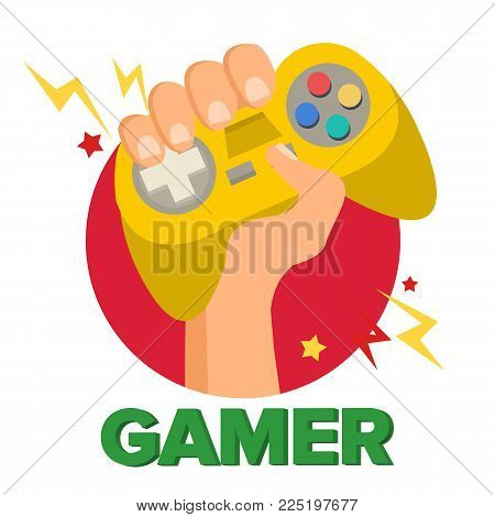 Gamer Hand With Joy Stick Vector. Game Concept. Video Game Console, Controller Symbol, Gamepad. Isolated Cartoon Illustration poster