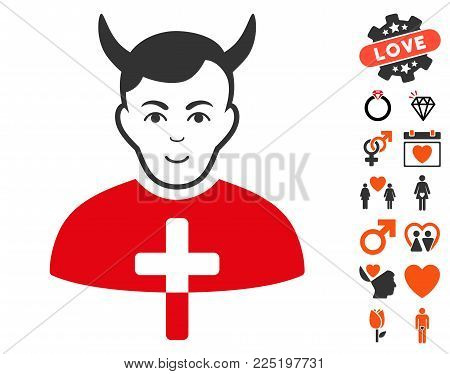 Satan Priest pictograph with bonus marriage pictograms. Vector illustration style is flat iconic symbols.