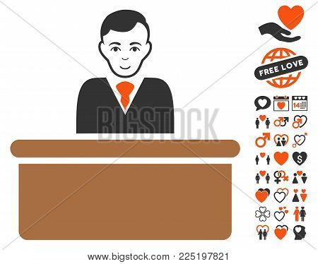 Office Clerk icon with bonus amour symbols. Vector illustration style is flat iconic symbols.