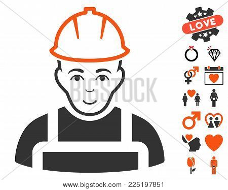 Worker pictograph with bonus passion pictograph collection. Vector illustration style is flat iconic symbols.