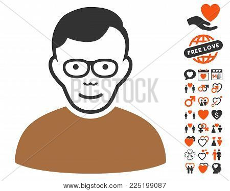 Pensioner pictograph with bonus decoration images. Vector illustration style is flat iconic symbols.