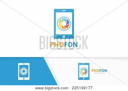 Vector camera shutter and phone logo combination. Lens and mobile symbol or icon. Unique photo and device logotype design template.